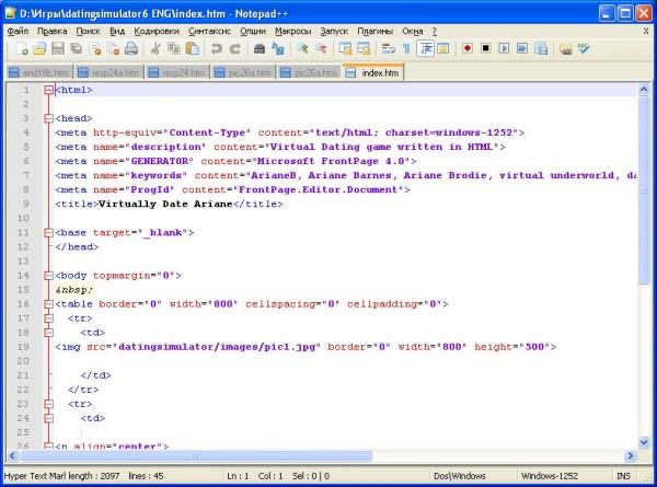 Notepad++ текстовый редактор html